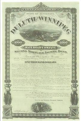 Duluth And Winnipeg Railroad Company....1871 Second Mortgage Income Bond