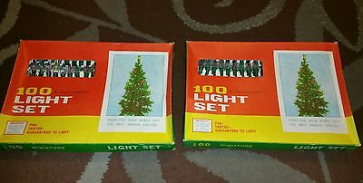 Lot of 2 VINTAGE 100 5-way Flasher Christmas Light Sets  star/flower top NOS NEW