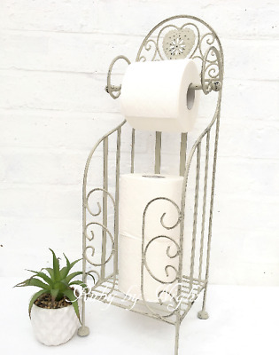 Shabby Chic Toilet Roll Holder Stand French Vintage Free Standing Storage Grey