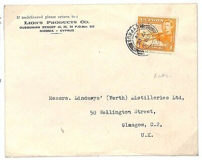 U184 1949 Cyprus Commercial Role Item Cover Glasgow GB {samwells-covers}PTS