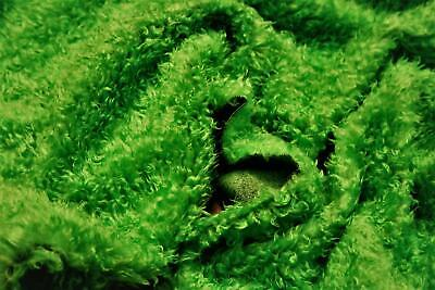 CURLY Teddy Faux Fur Fabric Material - LIME GREEN