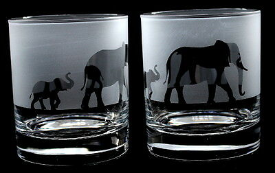 New etched Elephant gift (mother & baby) Whisky Glasses BOXED