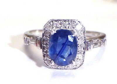 18K White Gold Natural 1.5CT Sapphire and Diamond Ring Size 7.25