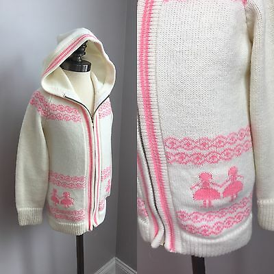 Vintage 1960s Girls Hand Knit Pink and White Hooded Sweater Jacket Size 4