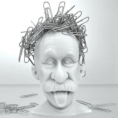 NEW Albert Einstein Genius Bald Headed Magnetic Paper Clip Holder Desk Accessory