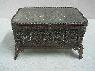 19th CENTURY FRENCH GILT BRASS ETCHED BEVELED GLASS JEWEL BOX