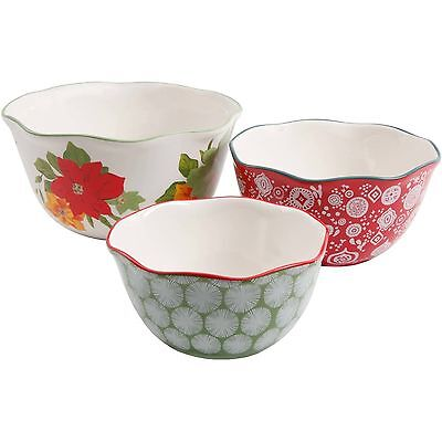 The Pioneer Woman Poinsettia 3 Piece Serving Bowl Mixing Bowl Set