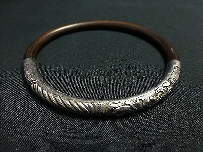Antique Chinese Silver Repousse Thin Bamboo Rattan Bracelet
