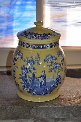 "Rare SPODE ""BLUE ROOM"" Blue & Yellow Lidded Biscuit Jar - Mint Condition"