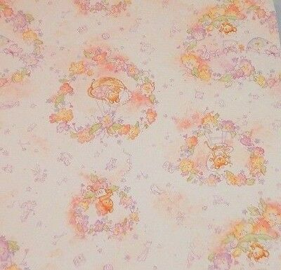 Vintage HALLMARK Wrapping Paper GIFT WRAP Baby GIRL Shower PINK Cute Mice