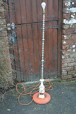 Vintage Antique Retro Shabby Metal Base Brass Effect Floor Standard Orange Lamp