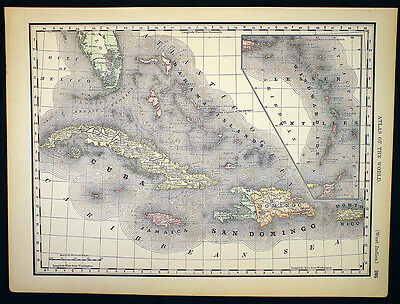 Antique Map Cuba Caribbean Porto Rico OR South America 1892