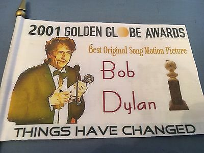 "* BOB DYLAN * 2001 Golden Globe Award Mini Desk Flag 4""x 6"" Things Have Changed"