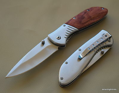 8 Inch Buckshot Wood Handle Spring Assisted Tactical Knife With Pocket Clip New!
