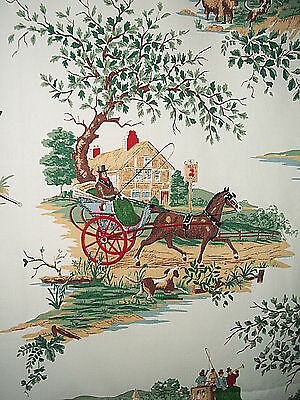 2 vintage cotton fabric drapes curtain panels novelty, horses, country pastoral