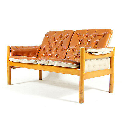 Retro Vintage Danish 2 Love Seat Seater Tan Leather Sofa 70s Mid Century Modern