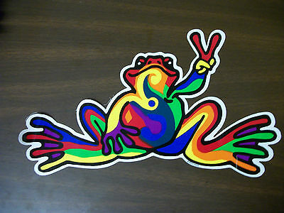 PEACE FROGS Retro Rainbow FROG STICKER