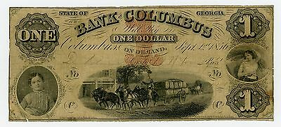 1856 $1 The Bank of Columbus, GEORGIA Note w/ SLAVE