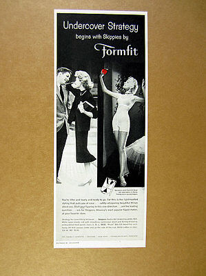 1957 Formfit Skippies Bra Pantie Girdle woman dressed undressed photo print Ad