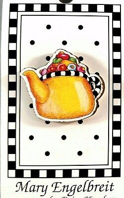 Retired 1990 MARY ENGELBREIT Button - NEW On Card TEAPOT #ME654-L  Machine Wash