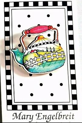 Retired 1990 MARY ENGELBREIT Button - NEW On Card TEAPOT #ME686-L  Machine Wash