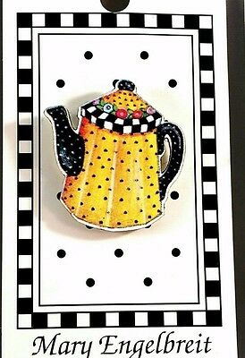 Retired 1990 MARY ENGELBREIT Button - NEW On Card TEAPOT #ME650-L  Machine Wash