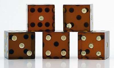 "RARE Antique ROOTBEER Amber Bakelite Dice ""TESTED"""