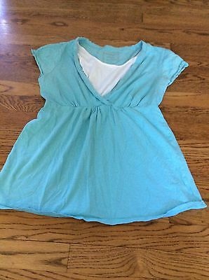 Motherhood Maternity Nursing Shirt Top Teal Blue Size Medium ��