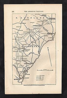 Original 1865 Antique Engraved Civil War Map SHERMAN'S SOUTH CAROLINA MARCH