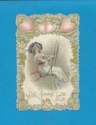 Lovely LADY ON A SWING On Unused Gorgeous VICTORIAN VALENTINE Greeting Card