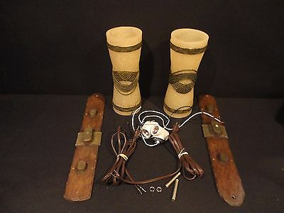 Disney's Polynesian Resort Tiki Wall Sconce Lamp Light Prop Set of 2 Never Used!