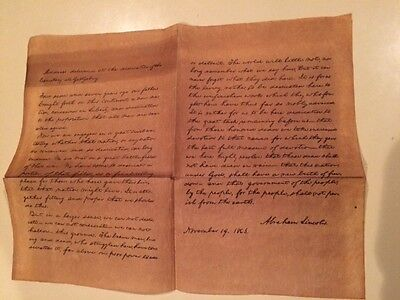 Vintage Copy of Gettysburg Address, Old looking Parchment Paper
