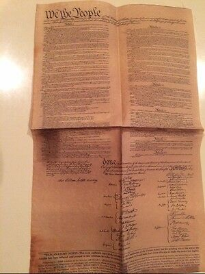 Vintage Copy Contents of Constitution of the USA, old looking parchment paper