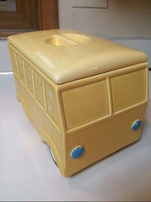 Vintage Cookie Jar Retro Yellow Camper Bus Hand Painted FREE SHIPPING