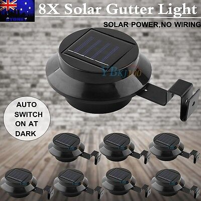 8X Solar Powered Gutter Fence LED Lights Outdoor Garden Wall Pathway Lamp Black