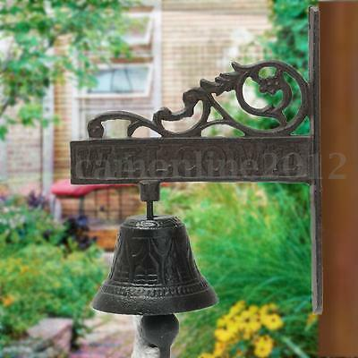 Vintage Style Brown Metal Cast Iron Door Bell Wall Mounted Castle Garden Decor
