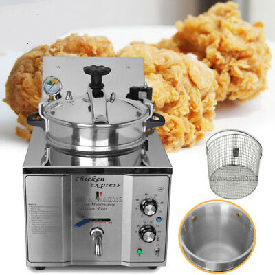2400W Commercial 16L Stainless Steel Electric Pressure Fryer Countertop Chicken