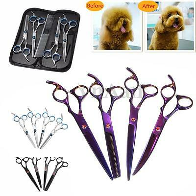 "6""/7""Professional Pet Dog Grooming Scissors Set Straight&Curved&Thinning Shears"