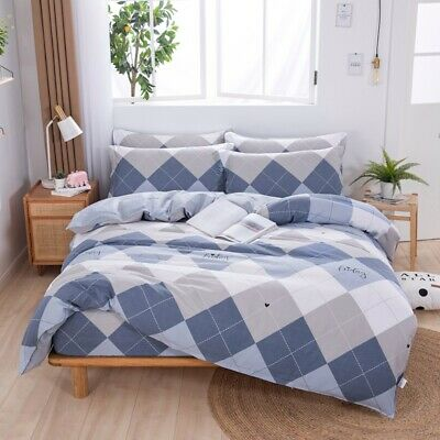 Striped Doona Duvet Quilt Cover Set Queen/King/Double Size Bed Cotton Pillowcase