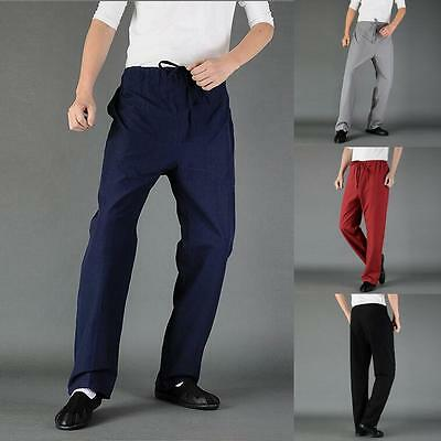 Casual Mens Cross Pants Trousers Chinese Japanese Style Kung Fu Tai Chi XXXL Gra