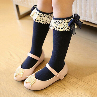 Baby Kids Girl Toddler Knee High Length Cotton Socks Bow Lace Frill 1-5 Years Ho