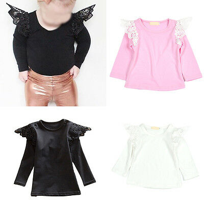 Baby Girls Toddler Kids Lace Wing Long Sleeve T-shirt Tops Blouse Clothes
