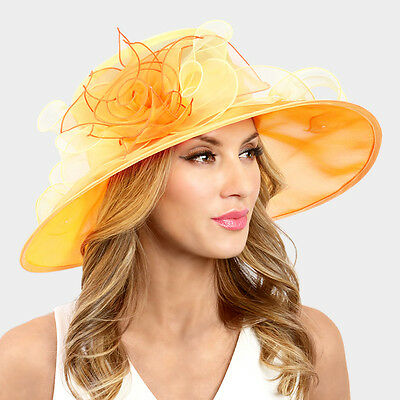 Women Wide Brim Ombre Flower Organza Hat Wedding Church Derby - USA Seller