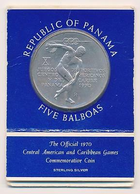 1970 Panama 5 Balboa 1 oz .925 STERLING SILVER COIN w/ Holder Athlete Discus UNC