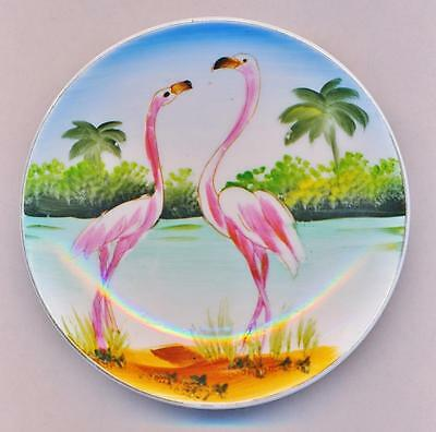 "PINK FLAMINGOS Vintage Hand Painted 4"" LEFTON PORCELAIN CHINA PLATE Dish Bowl"