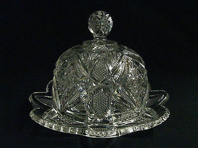 "1900 ""Pennsylvania"" Pattern Glass Covered Butter,  U.S. Glass States Pattern"