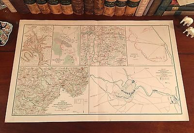 Original Antique Civil War Map CHANCELLORSVILLE Virginia VA Richmond Appomattox