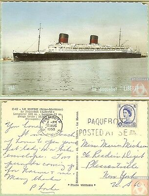 Angleterre - Carte Postale PAQUEBOT - LIBERTE - Posted at Sea 1959 - Plymouth