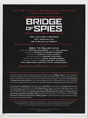 BRIDGE OF SPIES Official Film Screening Invitation Steven Spielberg Tom Hanks