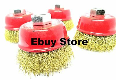 """(6pcs) 3"""" x 5/8"""" 75mm Brass Crimp Cup Rotary Wire Brush Wheel M14 Angle Grinder"""